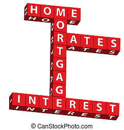 Red blocks with words home, mortgage, interest and rates over white