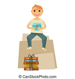 Home move happy boy child sitting with books packs and...