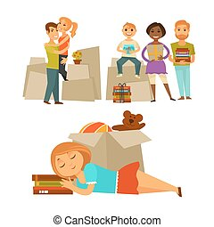 Home move people moving new house vector flat icons set