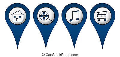 Home Movies Music Shopping Location - Location icons with...