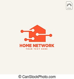 home network connection logo template vector illustration