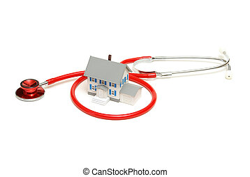 Home Nursing - An isolated stethoscope and house represent...
