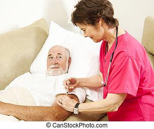 Home Nursing - Getting a Shot - Home health nurse giving a ...