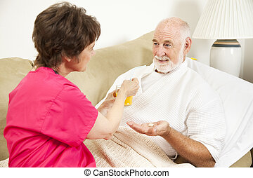 Home Nursing - Take Medicine - Home health nurse giving an ...