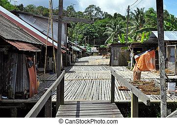 Home of Borneo Headhunters - Traditional village originally ...