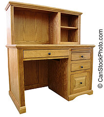 Computer Desk - Home Office Computer Desk and Hutch in Honey...
