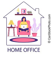 Home office concept. A woman with a laptop is sitting in a chair.