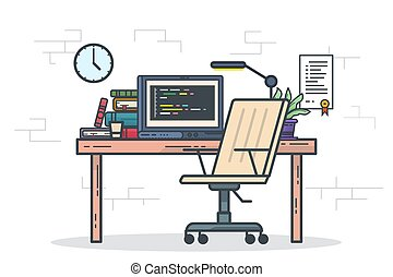 Home office concept - Home office freelancer concept. ...