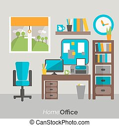 Home office furniture icon poster