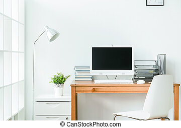 Home office has to be clean - Tidy home office with wooden...