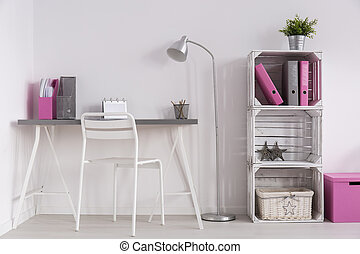 Home office in minimalistic style - Light room with simple ...