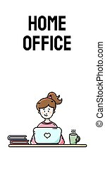 Home office motivational vertical banner. Practicing self isolation. Work from home. Young female blogger sitting in front of the laptop. Vector flat style cartoon illustration