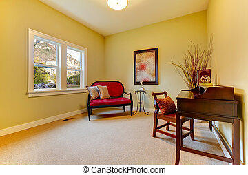 Home office staged with golden and beige.