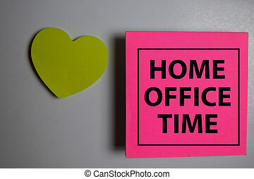 Home Office Time write on a book isolated on Office Desk.