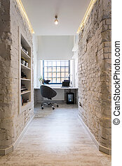 Home office with industrial chic - Home office with stylish...