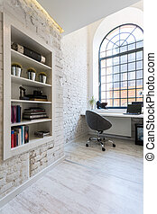 Home office with industrial look idea - Bright office room...