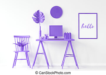 Home office with purple furniture