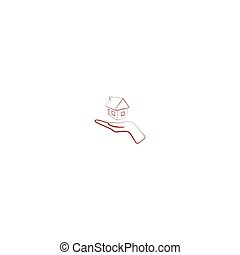 Home on the hand outline vector icon