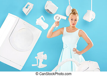 Home on the head - Young housewife overwhelmed by tasks...