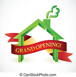 home or business grand opening banner illustration design
