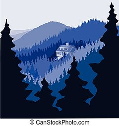 Home or cabin in the middle of a large empty mountain forest.