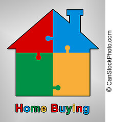 Home Or House Buying Guide Symbol Means Real Estate Guidebook - 3d Illustration