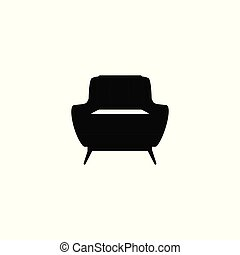 Home or office modern furniture armchair black icon vector illustration isolated.