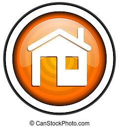 home orange glossy icon isolated on white background