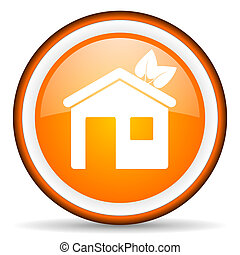 home orange glossy icon on white background