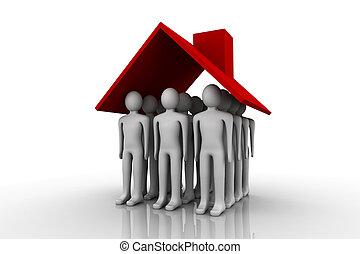 Home Owner - Home Owner. Concept depicting a man inside...
