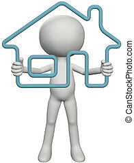 Home owner person looks through a 3D outline house real estate symbol in his hands