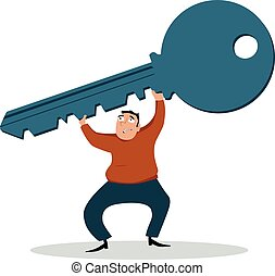 Home-owner's burden - Struggling man holding a giant key as...