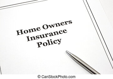 Home Owners Insurance Policy with a pen - A home owners...