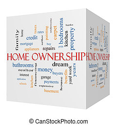 Home Ownership 3D Cube Word Cloud Concept on a Blackboard
