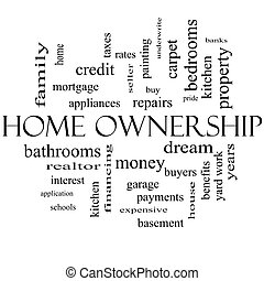 Home Ownership Word Cloud Concept in black and white with...