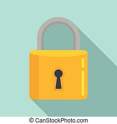 Home padlock icon, flat style