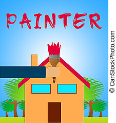 Home Painter Showing House Painting 3d Illustration