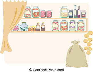 Home pantry for food. Vector illustration.