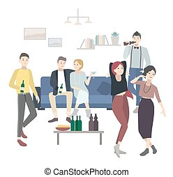Home party with dancing, drinking people. Flat illustration.