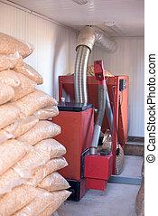 Home Pellet burner instalation and wooden biomass