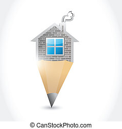 home pencil illustration design
