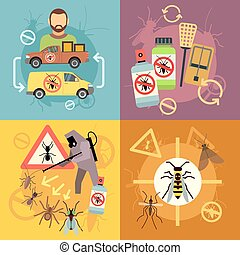 Home pest control service flat concepts set