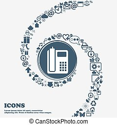 home phone icon in the center. Around the many beautiful symbols twisted in a spiral. You can use each separately for your design. Vector