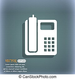 home phone icon. On the blue-green abstract background with shadow and space for your text. Vector