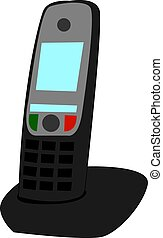 Home phone, illustration, vector on white background.