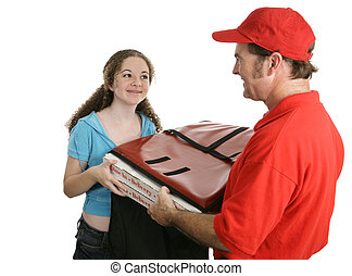 Home Pizza Delivery - A pretty teen girl receiving a pizza...