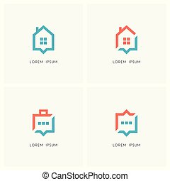 Home placemark and business communication logo set