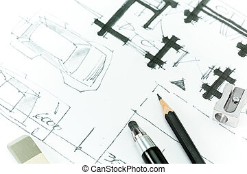 Graphical sketch by pencil of house plan. Hand drawing.