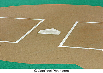 Home Plate - Homeplate of a baseball field with artificial...