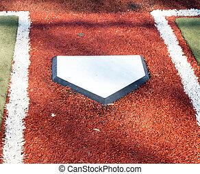 Home plate on a turf baseball field